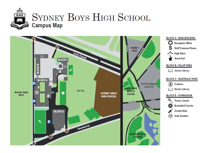 Sydney Boys High School Overview Map