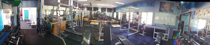 Panoramic view of the Alan May Weights Room