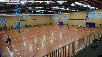 Gym courts are configurable in basketball, volleyball or badminton sizes